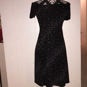 black floral off the shoulder dress